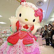 Japanische Hello Kitty Fans bei der Eröffnung eines Flagship-Stores in Tokio