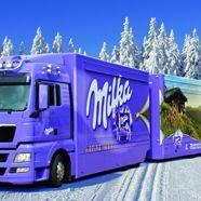 Der Milka Weihnachtstruck im Dezember in Wien