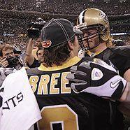 New Orleans Saints Quarterback Drew Brees und Jeremy Shockey feiern den Super Bowl Triumph