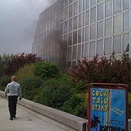 Wirtschaftsuniversität: Rauch steigt auf