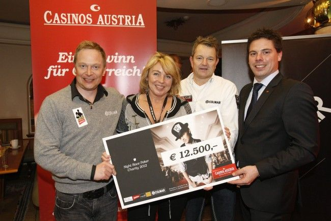 win2day Poker-Ace Johan Brolenius, Gabriela Gebhart von Stiftung Kindertraum, Pokerprofi Erich Kollmann und Casinos Austria Pokermanager Stefan Gollubits