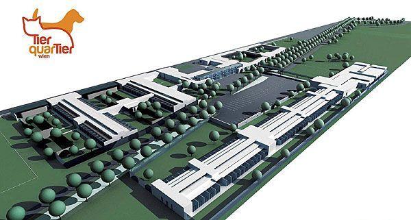 So wird der TierQuarTier-Gebäudekomplex aussehen, der bis 2015 in Wien-Donaustadt entsteht