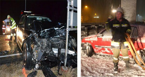 Frontal-Crash in Markt Pesting / Unfall auf der verschneiten S6