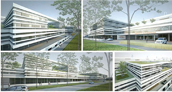 Einer der Sieger-Entwürfe für die Wien Energie Stromnetz-Zentrale, die in der Ausstellung zu sehen sind