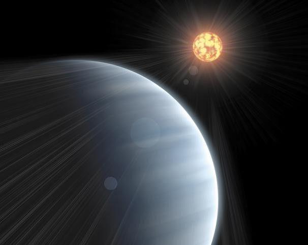 Eine Illustration des Exoplaneten GJ1214b