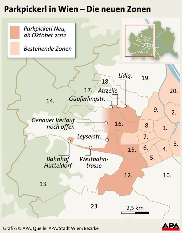 Zonengrenzen für Parkpickerl stehen in allen Bezirken fest