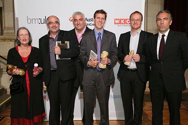 Buchliebling 2012 (v.l.n.r.): Susanne Scholl, Michael Niavarani, Ossi Hejlek, Jeff Kinney, Markus Hengstschläger, Christian Pöttler
