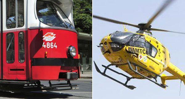 Nach einem Zusammenstoß zwischen Bim und Auto wurde der Notarzthubschrauber alarmiert.