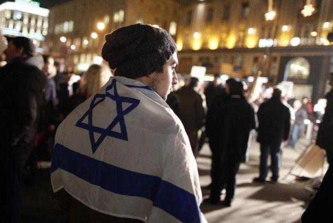 Kundgebung in Wien für Israel am Mittwochabend.