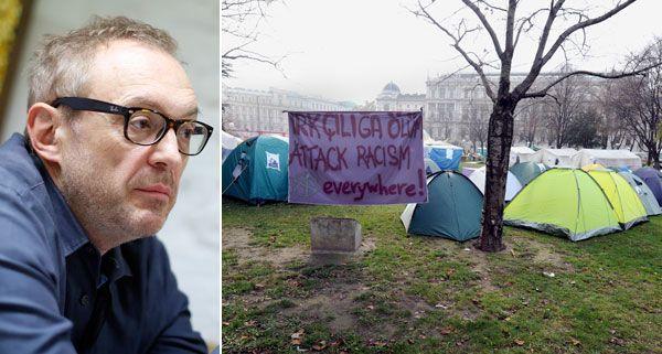 Kabarettist Josef Hader wird am Montagmittag das Camp in Wien-Alsergrund besuchen.
