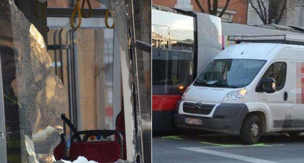 Die Bim und der Kleintransporter wurden bei dem Unfall am Mittwoch beide beschädigt.