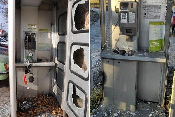 In diesem verheerenden Zustand ließen die Täter die Telefonzellen zurück