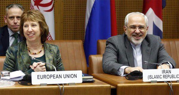 EU-Außenbeauftragten Catherine Ashton und Irans Außenminister Mohammad Javad Zarif in Wien.