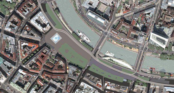 Ein Luftbild vom geplanten Projekt am Schwedenplatz.