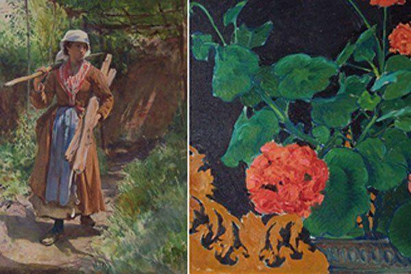 """Die Kunstwerke """"Zigeunermädchen"""" von Oskar Kokoschka und """"Geranien"""" von Koloman Moser"""