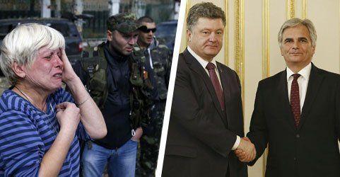 Blutige Gefechte in Donezk - Faymann besucht Poroschenko