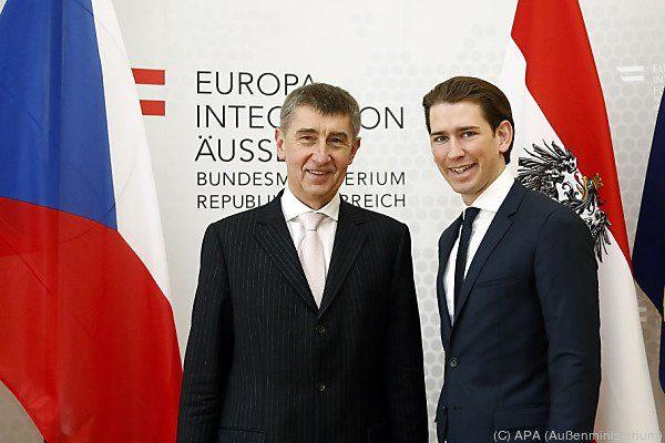 Andrej Babis traf auch mit Außenminister Kurz zusammen