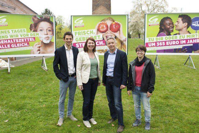 Die steirischen Grünen bei ihrer Plakatpräsentation vor der Landtagswahl.