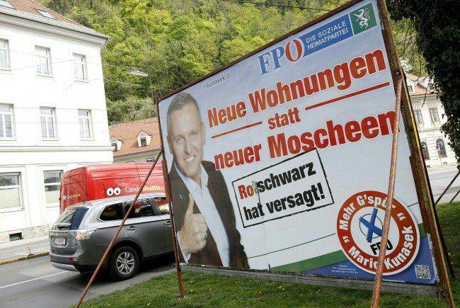 Die steirische FPÖ spricht sich in ihrer Plakat-Kampagne gegen Moscheen aus.