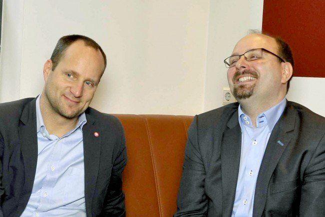 Matthias Scholz und NEOS-Spitzenkandidat Uwe Trummer.