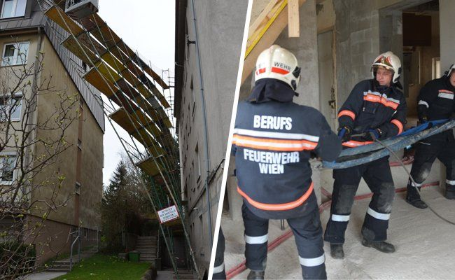 Sturmtief Niklas lässt Baugerüst auf Gegengebäude stürzen