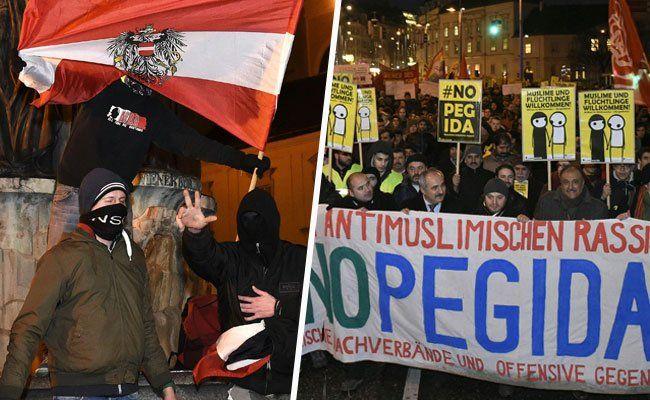 Pegida- und NoPegida demonstriert erneut in Wien