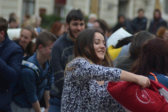Das war der heurige Pillow Fight Day in Wien.