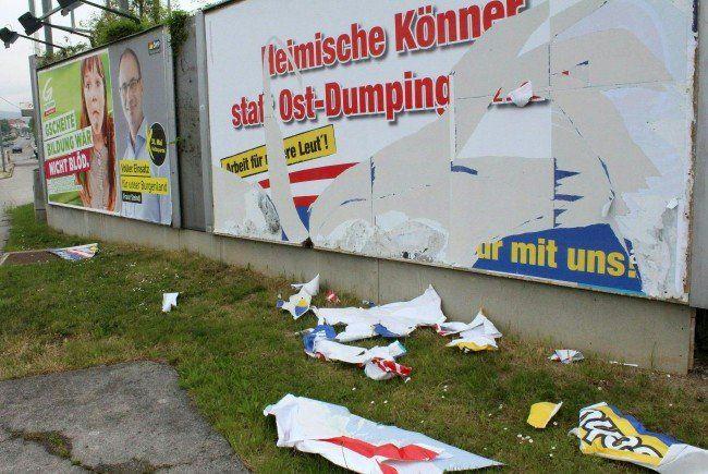Landtagswahl im Burgenalnd: 70 Wahlplakate der FPÖ wurden zerstört.