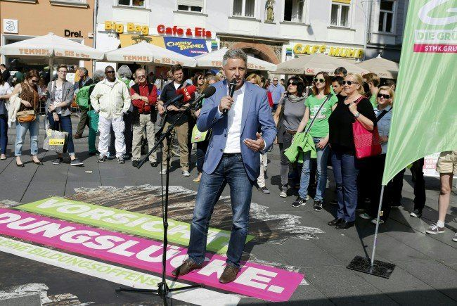 Der Wahlkampfabschluss der Grünen vor der Steiermark-Wahl am Sonntag.