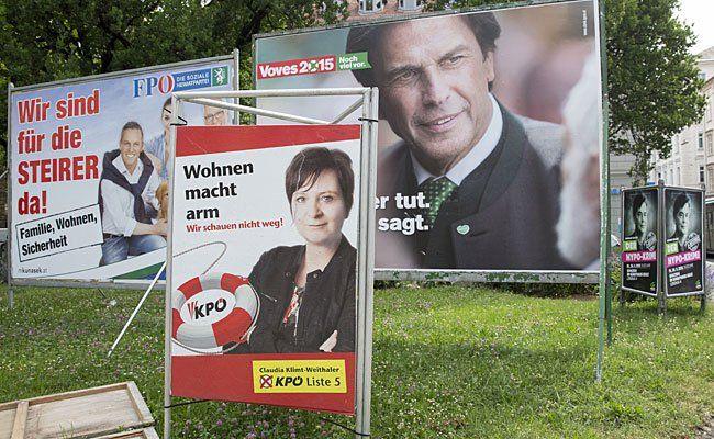 Wahlplakate der KPÖ, SPÖ und FPÖ