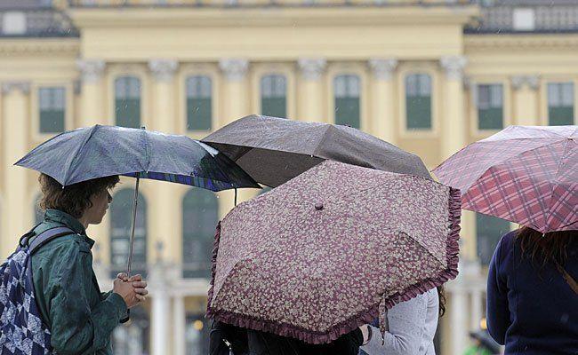 Sehr regnerisch war es am Samstag in Wien - aber auch mangels Zulauf wurde die Kundgebung abgesagt