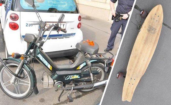 Zu einem Zusammenstoß zwischen einem Longboard- und einem Mopedfahrer kam es am 20. Mai