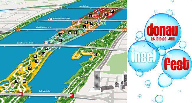 Der Plan des Wiener Donauinselfests 2015, alle Stationen und Bühnen.