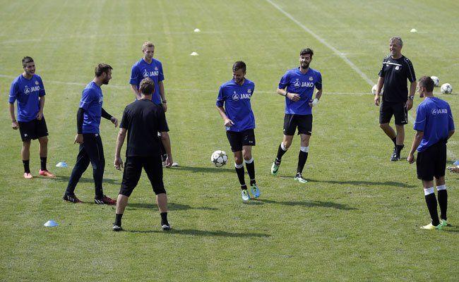 Ob die Niederösterreich beim Spiel auch so ausgelassen sind wie im Training?