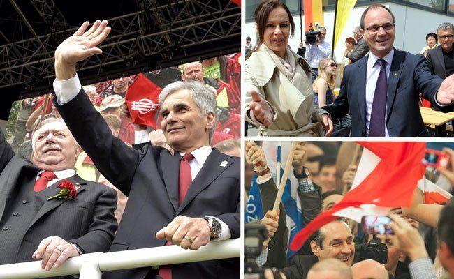 1. Mai mit Wahlkampftönen von Graz bis Eisenstadt