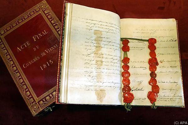 Ein Exemplar der Schlussakte des Wiener Kongress aus dem Jahr 1815