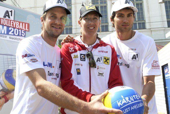 Die Beach-Volleyballer Alexander Huber, Stefanie Schwaiger Robin Seidl.