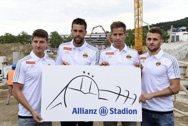 Vizemeister präsentierte bei Medientermin vor Stadionbaustelle auch Stadionlogo