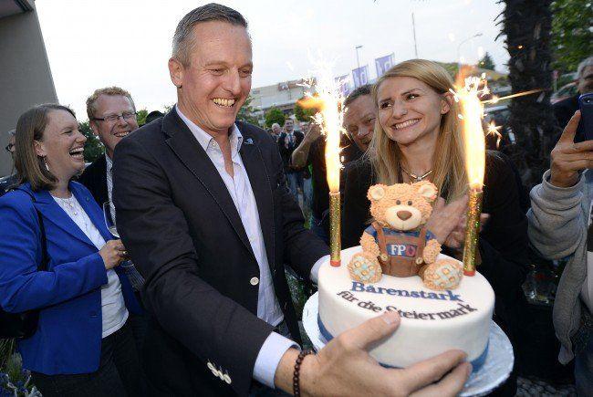 Die FPÖ feierte enormen Wählerzuwachs in der Steiermark.