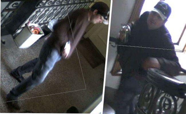 Zwei Aufnahmen des mutmaßlichen Einbrechers