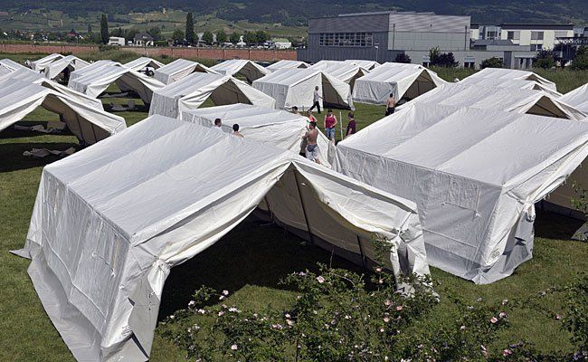 Die Flüchtlingszelte in Traiskirchen