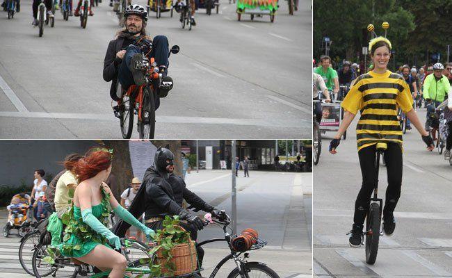 Tolle Räder und tolle Kostüme gab es bei der Radparade zu sehen.