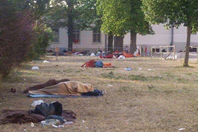 """""""Schande in Traiskirchen"""": 900 Flüchtlinge müssen im Freien schlafen"""