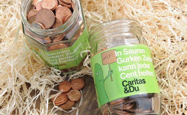 Im Rahmen der Gurkenglas-Aktion ruft die Caritas dazu auf, Kleingeld zu sammeln.