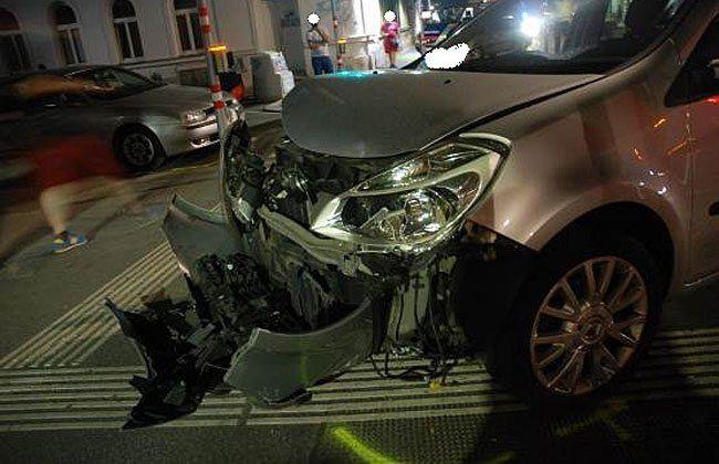 Einer der Unfallwagen in Ottakring