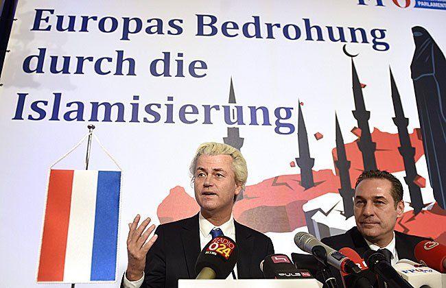 Wilders beim Auftritt in Wien auf Einladung von FPÖ-Chef Heinz-Christian Strache
