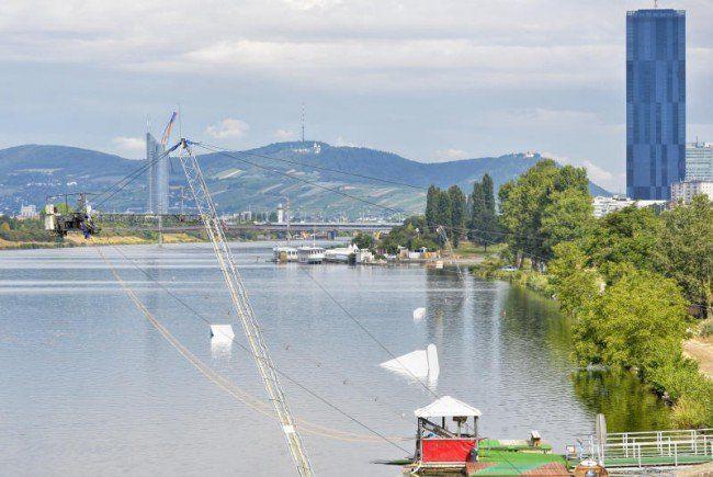 Die Wakeboard-Anlage an der Neuen Donau.