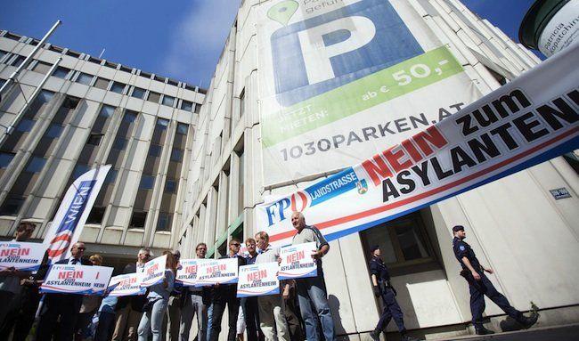 Bei der FPÖ-Protestaktion in Erdberg.