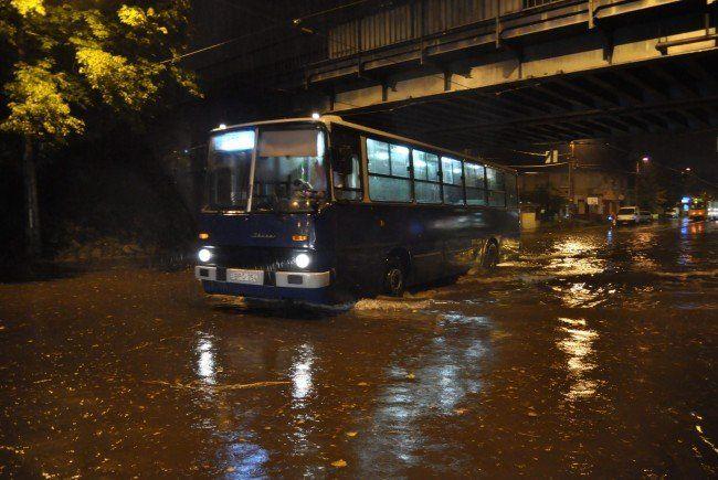 Starke Regenfälle in Budapest.
