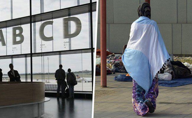 230 Asylwerber kommen in Gerätehalle am Flughafen Wien
